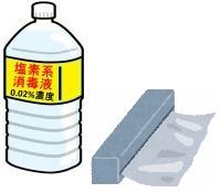 塩素系消毒液 0.02パーセントと記入した容器のイラスト